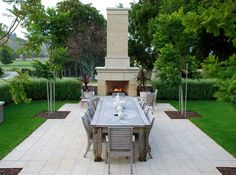 Outdoor fireplace and patio - - By Nelson Byrd Woltz Outdoor Kitchens, Outdoor Spaces, Love Garden, Home And Garden, Garden Projects, Garden Ideas, Landscape Architects, Outdoor Fireplaces, Contemporary Garden