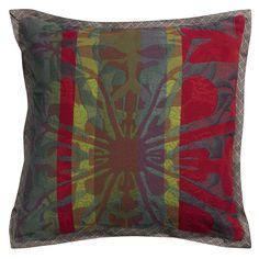 Housse de coussin ambiance chalet Garnier-Thiebaut - Modèle : Tifaifai - Housse de coussin en coton et en laine - Coloris : multicolore