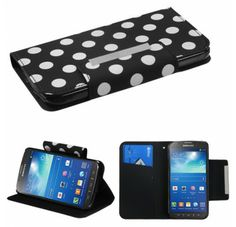 SAMSUNG i537 (Galaxy S4 Active) White Polka Dots Black Frosted Book-Style MyJacket Wallet (with card slot) (755) (with Package)