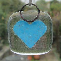 Handmade Aquamarine blue on clear fused glass by BlueBoxStudio