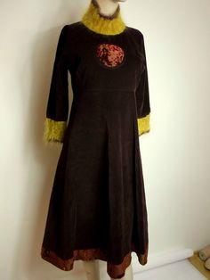 TULIP & TATAMO womens velvet DRESS Norway design by ANNE ISENE UK 14 L Norsk