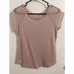 Pink AE Shirt Pink American Eagle Shirt with sheer short sleeves! Good condition! American Eagle Outfitters Tops