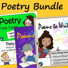 Poetry Bundle - includes task cards, activity sheets, and slide presentation about types of poetry, writing poems, and poetry elements - for middle school and upper elementary language arts classes Poetry Activities, Fun Classroom Activities, Teaching Poetry, Writing Poetry, Poems For Students, Similes And Metaphors, Poetry Lessons, Middle School Writing, Classroom Language