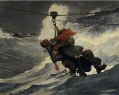 "Winslow Homer The Lifeline "" Currently in Philadelphia Museum of Art. If you take a survey course in the history of American art when you get to Homer this is likely to be one of the examples. Google Art Project, Winslow Homer Paintings, Philadelphia Museum Of Art, Philadelphia Pa, Oil Painting Reproductions, Painting Process, Figure Painting, Art Abstrait, Fine Art"