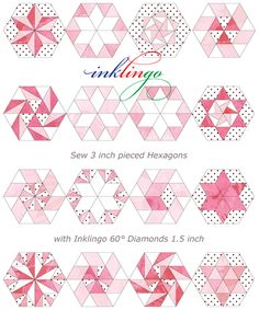 Inklingo: Hexagons with Linda Franz | Quilty Pleasures Blog. Neat idea - print quilt pattern outlines on fabric.