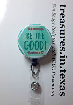 Mint Glitter Look Fun  Retractable Reel ID Badge Holder BORN TO SPARKLE