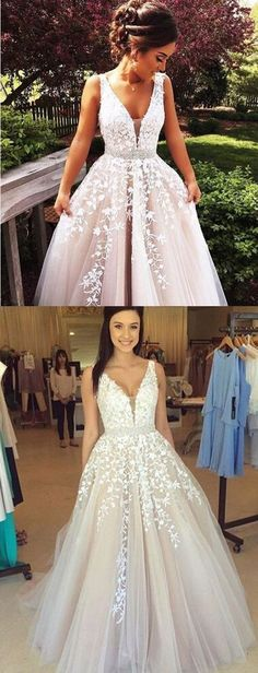 Charming long prom dress with applique, eveing dress prom gown.