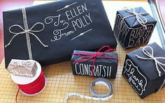 chalk gift wrapping