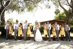 Yellow bridesmaid dresses and cowgirl boots!