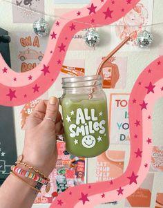 Mason Jar Mugs, Matcha Drink, Coffee Cup Design, Custom Starbucks Cup, Smile Design, Custom Cups, Cute Mugs, Iced Coffee, Iced Latte