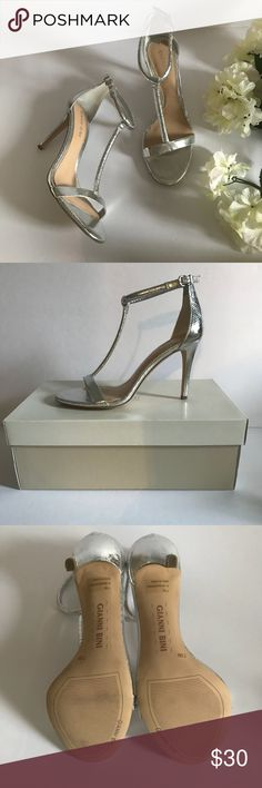 """Gianni Bini Silver T-Strap Heels Gianni Bini silver beautiful t-strap heels in excellent condition, no flaws. 4"""" heel. 1 short time wear. I use anti-bacterial wipes inside & out on all shoes in my listings before I package. Clean, non-smoking home. Posh Ambassador, 5⭐️avg rated & ship quickly! Gianni Bini Shoes Heels"""