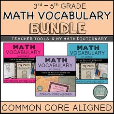 My Math Dictionary & Teacher Tools Elementary Bundle (CCSS) Vocabulary Journal, Math Vocabulary, Math Notebooks, Teaching 5th Grade, 3rd Grade Math, Fourth Grade, I Hate Math, Love Math, Love Teacher