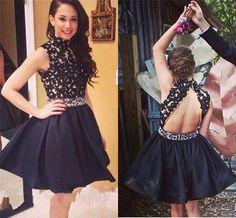 2017 black short homecoming dresses, open back homecoming dresses, lace homecoming dresses #homecomingdresses