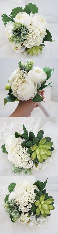 Lily Garden Hydrangea Berry Succulents Plant Ranunculus Wedding Bouquet (White)