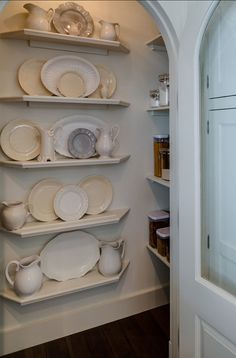 Pantry. Kitchen Pantry. Traditional Kitchen pantry. This pantry is used to beautifully display china. #Pantry #KitchenPantry