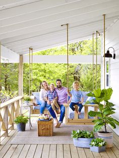 Front porches and back patios are our favorite spots to relax in the warmer months. Make yours your favorite escape too with these best front porch ideas, including outdoor decorating ideas, patio ideas, and more. Modern Farmhouse, Farmhouse Plans, Patio Design, House Design, Porch Bed, Porch Swings, Outdoor Furniture Sets, Outdoor Decor, Outdoor Ideas