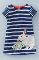 Mini Boden 'Stripy' Appliqué Dress (Toddler Girls, Little Girls & Big Girls)