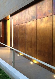 Awesome Metal Wall Coverings For Interior Metal Sheet And Panel For Facade TECU® Design_brownished KME Architectural Solutions Metal Facade, Metal Cladding, Wall Cladding, Cladding Panels, Metal Wall Panel, Metal Panels, Sheet Metal Wall, Interior Walls, Interior And Exterior