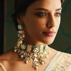 Embrace the exquisite richness of Indian designer jewelry from the Festive Winter 2019 Collection by Anita Dongre. Shop for our fine handcrafted jewelry online today. Indian Wedding Jewelry, Indian Jewelry, Bridal Jewelry, Indian Weddings, Ethnic Jewelry, Indian Bridal, Gold Jewelry, Anita Dongre, Antique Jewellery Designs