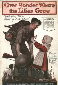 Over Younder - Norman Rockwell  WWI sheet music.....shows a Dutch girl pinning a flower on an American soldier.