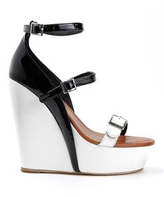 Charm City Sole Black & White Parlay Leather Wedge #shoes