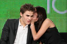 """Actors Paul Wesley and Nina Dobrev speak onstage at the CW """"The Vampire Diaries"""" Q&A portion of the 2010 Winter TCA Tour day 1 at the Langham Hotel on January 2010 in Pasadena, California. Get premium, high resolution news photos at Getty Images Vampire Diaries Seasons, Vampire Diaries Funny, Vampire Diaries Cast, Vampire Diaries The Originals, Stefan Salvatore, Elena Gilbert, Paul Wesley, Stefan E Elena, Nina Dobrev Style"""