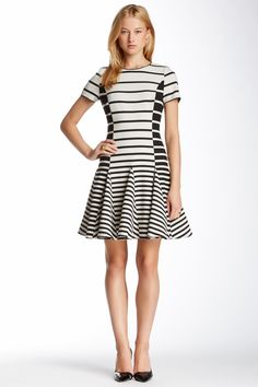Halston Heritage Striped Flare