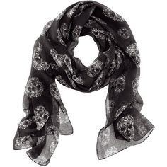 H&M Scarf ($7.91) ❤ liked on Polyvore featuring accessories, scarves, black, woven scarves, print scarves, patterned scarves and h&m scarves