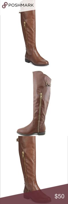 Rialto Brown Knee High Boots Brand NEW ! Condition : 10/10.                                                              Description: Knee high boots. The inside of the boot has a zipper that goes all the way from bottom to mid way (picture 2). The outside has a similar but smaller zipper (Picture 3). The top of the boot has an inside buckle. The bottom of the boot has the brand written in small squares. Boots are very warm and comfortable! rialto Shoes Over the Knee Boots