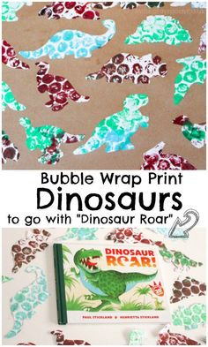 """Bubble wrap print dinosaurs to go with the book """"dinosaur roar"""" by Paul Strickland. Fun book based craft for kids, works well for toddlers. Dinosaur Theme Preschool, Dinosaur Art, Preschool Crafts, Dinosaur Crafts For Preschoolers, Preschool Themes By Month, Dinosaur Classroom, Montessori Classroom, Dinosaur Birthday, Preschool Classroom"""
