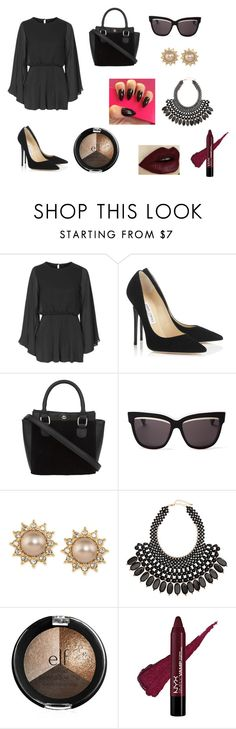 """All Black"" by louisse-betina ❤ liked on Polyvore featuring Topshop, Jimmy Choo, Christian Dior, Carolee and H&M"