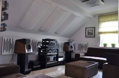 The fabulous sounding SONUS FABER Extrema speakers driven by vintage KRELL amp and preamp with a WADIA digital front end. Note: Home hub Sure, home is wher Audiophile Speakers, Hifi Audio, Sound Room, Audio Room, Home Theater Projectors, Home Cinemas, Home Studio, Living Spaces, Interior
