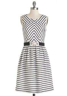 Boardroom to Boardwalk Dress by Bea & Dot - Black, Stripes, Belted, Casual, Nautical, A-line, Sleeveless, Better, Long, Woven, White, Pockets, Exclusives, Private Label