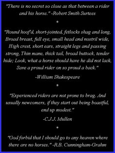 Horse quotes and poetry; love these! My Heaven will have horses... and Shakespeare!