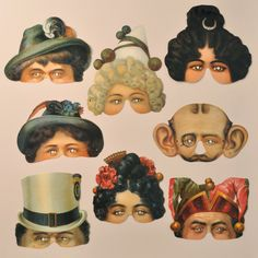 A set of 8 Victorian-style die-cut and embossed Mamelok half-face paper masks featuring images from the Moyse's Hall Museum. $22.00, via Etsy.