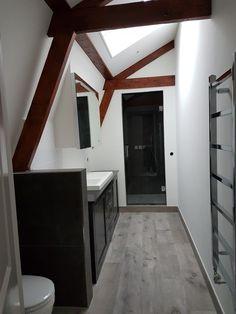 #Bathroom #remodel #wood #beams