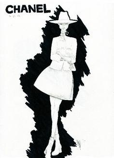 Ad by Chanel.  Fashion Sketch Illustration