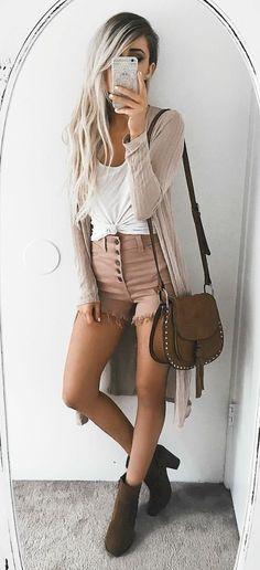 Summer style / denim shorts   white top   beige cardigan