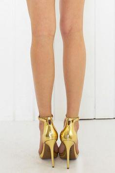 Jacinda Gold Ankle Strap Heels | Strap heels, Ankle straps and ...