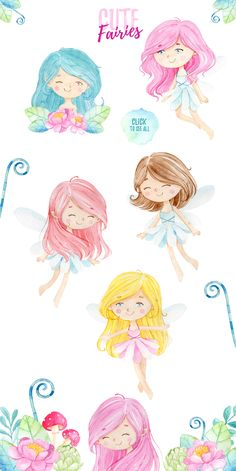 introducing the cute fairies! perfect for any occasions, in.kers and many more! design your own project, you name it! Illustrations, Graphic Illustration, Fairy Clipart, Box Frame Art, Overlays Instagram, Mystical Forest, Mermaid Fairy, Fairy Pictures, Cute Fairy