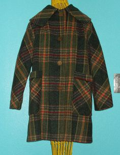 60s Vintage Awesome Plaid Wool Hipster Ladies' Coat — Size 14