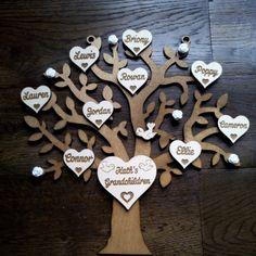 Laser cut wooden tree family tree www.lakeslasercraft.co.uk