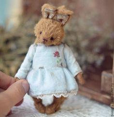"""Купить Little Bunny """"Rose"""" (11cm) - коричневый, кролик тедди, друзья тедди, зайка девочка"""