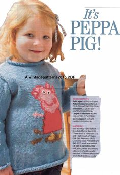 Peppa Pig Sweater Jumper Knitting Pattern 2 - 5 years DK - PDF Download