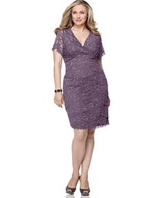 Marina Plus Size Dress, Cap Sleeve Lace Cocktail Dress -Dresses -Macys