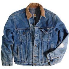 Carhartt Chore Jacket ($85) ❤ liked on Polyvore featuring outerwear, jackets, tops, coats & jackets, chore jacket, blue jackets, carhartt, vintage denim jacket and blue denim jacket