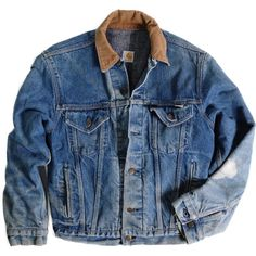 Carhartt Chore Jacket (55.265 CLP) ❤ liked on Polyvore featuring outerwear, jackets, tops, coats & jackets, chore jacket, blue denim jacket, vintage jackets, denim jacket and wool lined jean jacket