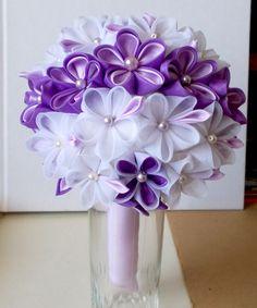 kanzashi bridal bouquet, kanzashiland https://www.facebook.com/kanzashis…