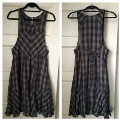 """Free People Check Plaid Dress Free People midi dress, approx. knee long or falls slightly below (for reference I'm 5'7""""). Lined (cotton); 2 pockets; zipper on the side. The shell is also cotton. Size XS; would fit S nicely and still be loose enough :) Worn only a couple of times Free People Dresses Midi"""