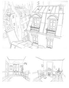Incríveis desenhos de Paul Mager para o filme Um Montro em Paris | THECAB - The Concept Art Blog Environment Sketch, Environment Design, Poses References, Drawing Reference Poses, Animation Background, Colouring Pages, Coloring, Map Design, Visual Development